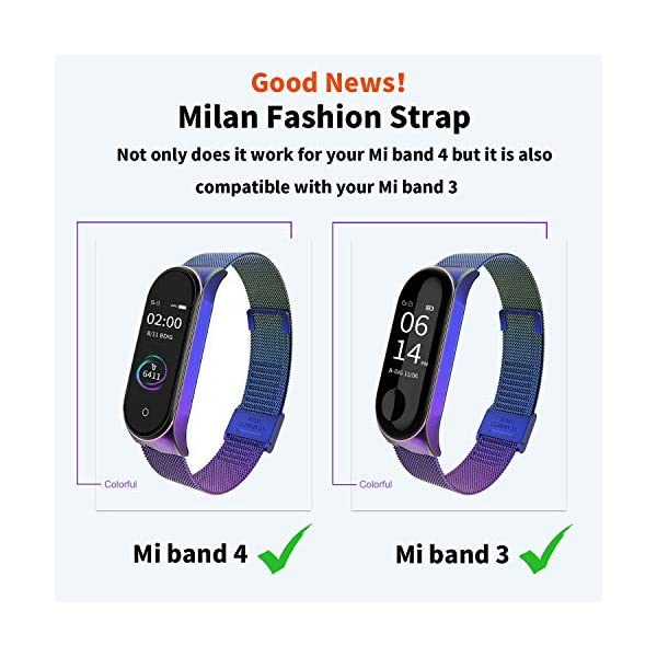 BDIG Correa Compatible Xiaomi Mi Band 4 Correas Metal,Pulsera de Acero Inoxidable Agradable para Mi Band 4 Correa (No Host) 6