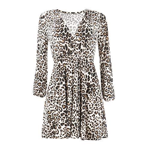 BHYDRY Frauen Leopard Print Sexy Wickelkleid V-Ausschnitt Langarm Party Club Mini Tee Kleid(EU-36/CN-M,Khaki)