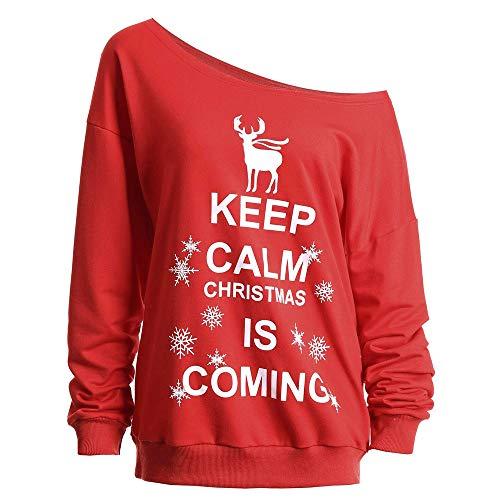 OverDose Damen Mode Karneval Stil Frauen Weihnachten Langarm Wapiti Bluse Sweatshirt Pullover Party Clubbing Outing Schlank Casual Tops(Y-A-Rot,EU-54/CN-5XL)