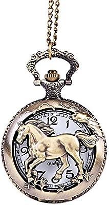 Cool estilo hueca caballo Bronce Estilo Antiguo Collar De Cuarzo Relojes de bolsillo