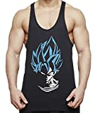 Super Son Goku Herren Tank Top Fitness Gym Shirt Stringer Dragon Master Ball Vegeta Turtle Roshi Db, Farbe:Schwarz/Blau;Größe:M