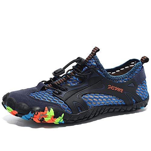 HILOTU Atmungsaktive Wanderschuhe Für Männer Bergsteigen Athletic Sneaker Mesh Stoff Rutschfeste Vintage Sandalen Casual Sommer Schuhe wasserdichte Wohnungen (Color : Blau, Größe : 45 EU) -