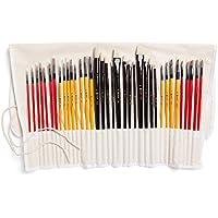 Colore Art Brochas con funda de nailon - Complete 36 unidades profesional - Juego de brochas (12 Aceite de acrílico, 12 & 12 Pinceles de acuarela - ligero y duradero Pintura Suministros
