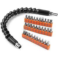 Arbre Flexible 300mm & Set d'embouts 31pcs Tacklife Couple Max 8Nm Tête de 6.35mm (1/4) Set d'accessoires pour les Visseuses Perceuses à Couple Régable   ASS01C