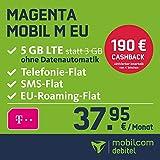 Telekom Magenta Mobil M EU Allnet Flat mit 5GB LTE Internet Flat max. 300 MBit/s, Telefonie- und SMS-Flat in alle dt. Netze, HotSpot-Flat, EU Flat, 24 Monate Laufzeit, monatlich nur 37,95 EUR statt 56,95 EUR + Cashback in Höhe von 190 EUR, Triple-Sim-Karten