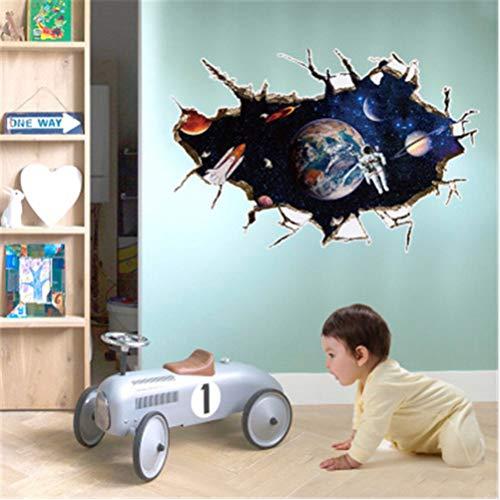3D nave espacial pegatinas de pared para habitaciones de niños calcomanías para niños DIY Creative Boy dormitorio decoración de la pared PVC Home Stickers Muraux 60 * 90 cm