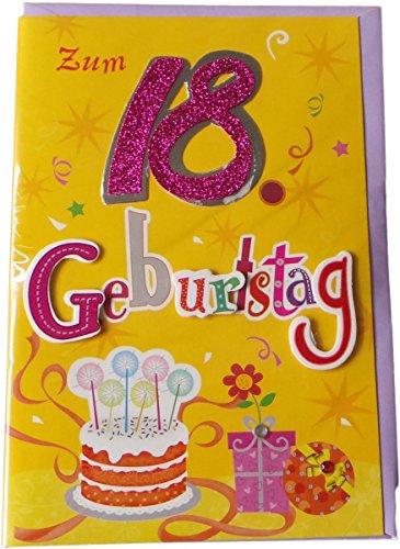 m Geburtstag - Zum 18 Geburtstag - Torte - Gelb/Mehrfarbig - mit Briefumschlag (Geburtstag Motto-ideen Für Mädchen)