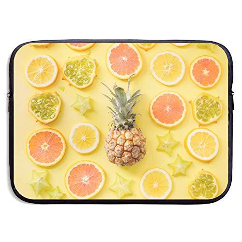 Benutzerdefinierte Laptop-Hülle 13/15 Zoll Ultrabook Reißverschluss Aktentasche Zitronenfrucht Zitrus Ananas Print Portable Messenger Bag, 13 Zoll