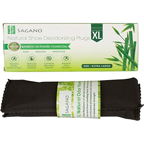 Sagano Mejor Desodorante para Calzado de Carbon Activado - 2 XL de Bolsas Absorbentes que Quita Olores, Completamente Natural - Elimina el Olor a Humo, Pies y con los Calcetines Malolientes