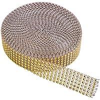KAKOO 2er 6 Reihen 10 Yard Strassband Glitzband Acrylic Rhinestone Diamant Band Dekoband für Hochzeit Geburtstag Torte Gastgeschenkbox Verzierung Handwerk (1 Gold)