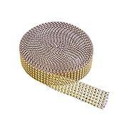 KAKOO, nastro con 6 file di strass in acrilico a forma di diamante, ideale per decorazioni di feste, matrimonio, torte, 9,1m gold