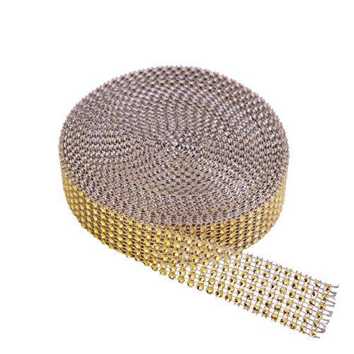 KAKOO 1 Rolle 6 Reihen 10 Yard Strassband Glitzband Acrylic Rhinestone Diamant Band Dekoband für Hochzeit Geburtstag Torte Gastgeschenkbox Verzierung Handwerk (1tlg gold-6Reihen)