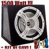 SUBWOOFER AUTO ATTIVO 10' AMPLIFICATO 1500 WATT da 25 CM. BOX