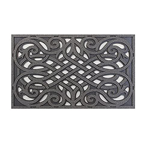 CleanScrape Wrought Iron Design Door Mat, 18-Inch by 30-Inch, Graphite