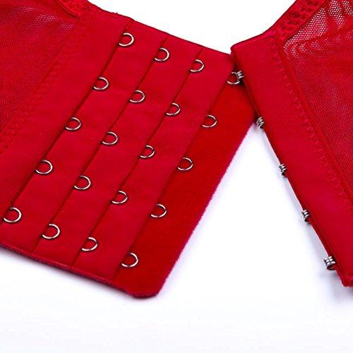 Yiiquan Donna Push-up Bra Reggiseno di Pizzo Sezione Sottile Shapewear Gilet Tracolla Larga Vino Rosso