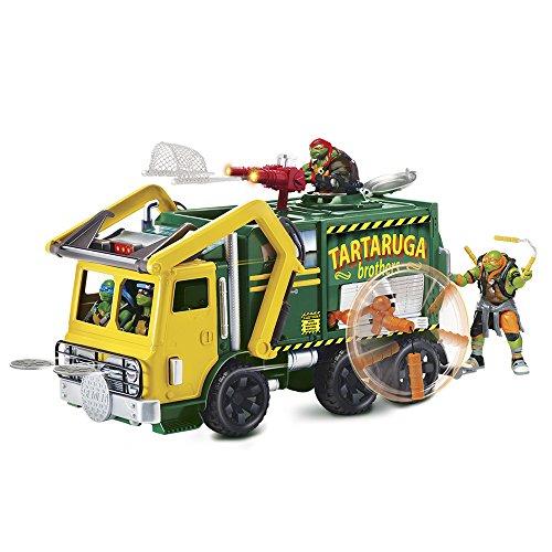 Teenage Mutant Ninja Turtles Spielzeug / Müllwagen mit Leonardo-Figur, Motiv aus dem 2. Teil der Filmreihe