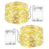 Guirlande Lumineuse LED à Pile, 2 Pack 4M Lumière Etoilée 40 LEDs, Décoration Extérieure Intérieure Imperméable pour Mariage Soirée Noël(Blanc Chaud)