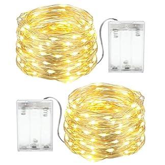 Luces Navidad a Pilas, 2 x 4M Cadena de Luces 40 LEDs, Guirnaldas Luminosas LED para Exterior e Interior Impermeables Navidad Decorativas(Blanco Cálido)