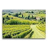 Calvendo Premium Textil-Leinwand 75 cm x 50 cm quer, Weinberg bei San Gimignano | Wandbild, Bild auf Keilrahmen, Fertigbild auf echter Leinwand, Leinwanddruck Orte Orte