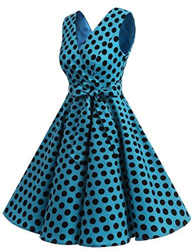 Dresstells Version 7.0 Vintage 1950's robe de soirée cocktail col en V sans manches rétro style années 50 Blue Black Dot