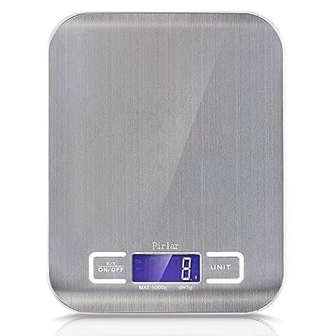 Firlar 5Kg / 11lb Digital Post Und Nahrungsmittelskala Edelstahl Beleuchtete LCD Anzeigen Multifunktionsküche Elektronische Balance