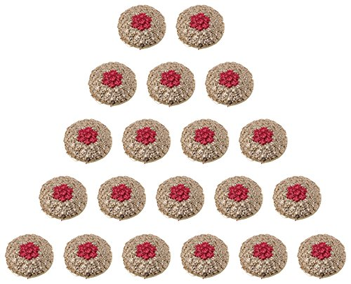 Fabric and Lace Buttons Zari With Red Thread Work Flower Design Buttons