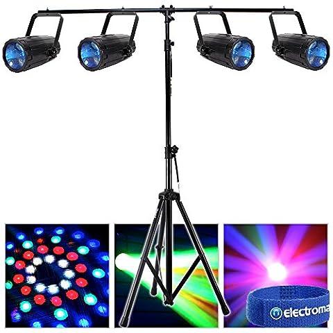 4x Beamz Single Cluster LED Moonflower Effect Lights T-Bar Disco Lighting Stand