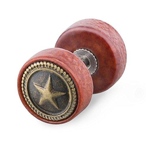 Piercingfaktor Runde Ohrring Ohrstecker Fake Piercing Ohr Plug Flesh Tunnel Kreis Platte Stecker Holz Braun Gold mit Stern