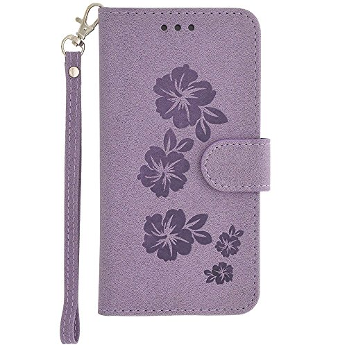 CellularOutfitter iPhone 6/6s/7 Leather Wallet Case Hawaiian Flower Embossed - Includes Detachable Matching Slim Case and Wristlet - Light Blue Purple