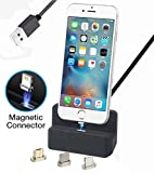 AUSWAUR Magnetische Ladegerät Dock Ladestation 3 in 1 Micro USB & Blitz & Typ-C, Ladegerät Docking Station Cradle Schnellladung für Phone X 8 7 6 6 s Plus Samsung Galaxy S6 S7 S8 Plus (Schwarz)