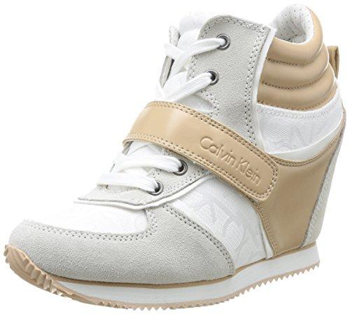 Calvin Klein Jeans - Viridiana Sneaker Donna, Beige/Bianco (WNL- White/ Natu), 37