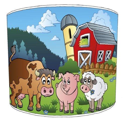 Premier Lampenschirme Tabelle Bauernhof-Yard Tiere Kinderlampenschirme - Durchmesser 30cm - Bauernhof-tabelle