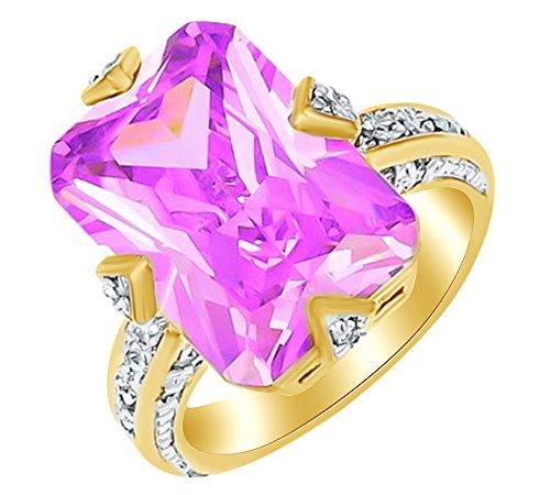 Gelbe Ringe Engagement (Smaragd Form Pink & Weiß Zirkonia Solitaire Engagement Ring in 18ct Gelb Vergoldet Sterling Silber Ring Größe–12)