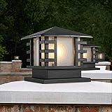 ACZZ Esterna antipioggia in alluminio Post Light Paesaggio rurale Impermeabile Ip44 Colonna Lampada tradizionale Square Desktop Pilastro Lanterne Cancello esterno Villa Piscina Terrazza Recinzione Il