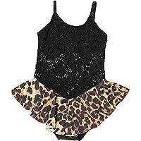 Liuzecai Trajes de baño Lindo Bebés Hem baño Bikini Falda Set de baño de una Sola Pieza Traje de baño para Las niñas Niños (Color : Black, Size : L)