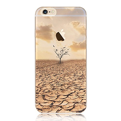 iPhone 7 Case,iPhone 7 Clear Case,Sunroyal Ultra Thin Slim Soft Silicone TPU Gel Transparent Cover with Anti-Scratch Rubber Embossing Landscape Pattern Case Cover for iPhone 7 4.7 inch - Dry Land and Tree Pattern Test