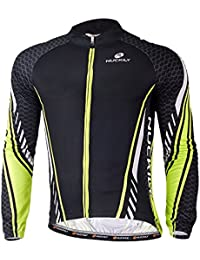 NUCKILY Men s Winter Full Zipper Long Sleeves Sublimation Fleece Bicycle  Jersey for Cyclist Medium 73041218e