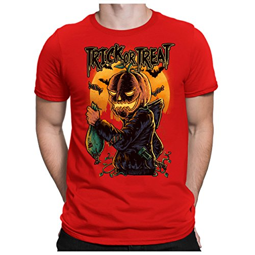 Rotes Halloween T Kostüme Shirt (PAPAYANA - TRICK-OR-TREAT - Herren Fun T-Shirt - Halloween Kürbis-Kopf Pumpkin Kostüm - 5XL)