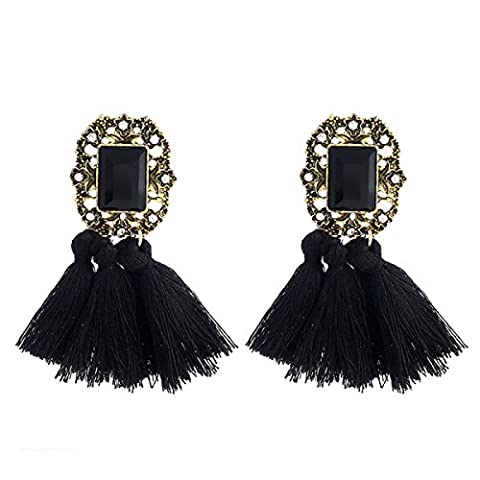 Europe And The United States Crystal Tassel Fashion Diamond Gemstone Wool Tassel Earrings