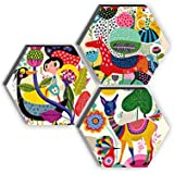 SAF Set of 3 Hexagon Kid's Décor Modern Art UV Textured MDF Home Decorative Gift Item Painting 17 Inch X 17 Inch SANFHX17SMAL