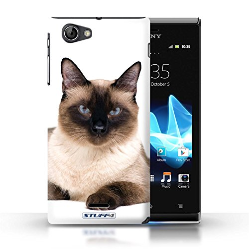 Kobalt® Imprimé Etui / Coque pour Sony Xperia J (ST26i) / Sibérien conception / Série Espèces de chats Siamois