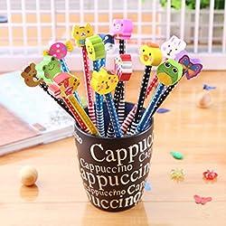 SYOO 30 x dureza HB lápices con conjunto de borrador, regalo de regalo para la fiesta de cumpleaños fiesta de los niños recompensa escolar fiesta en el jardín (los colores son aleatorios)