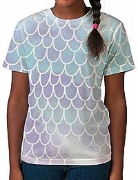 Bang Tidy Clothing Kid's T Shirt All Over Print Fish Mermaid Scales Girls Summer Clothes Printed Top