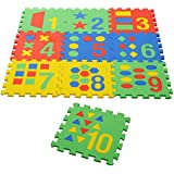 "NHR Colorful Kids Play Puzzle Style Mat With Pop Out Numbers, Numbers In Words And Images. Set Of 10 Pcs (interlocking) 12"" X 12"" Each Piece"