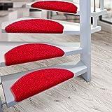 Kit de 15 marchettes d'escalier casa pura® Sphinx à poil long | amortissantes et résistantes | rouge...