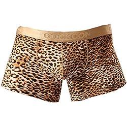 Vividda Ropa interior de algodón para hombre pantalones cortos ropa interior hombres boxeadores escritos suave Con patrón de leopardo L