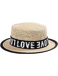 Meaeo Gorra Plana Sombrero De Paja Sombrero para El Sol Sombrero De Playa  Sombrero De Vacaciones 88a19ec6241