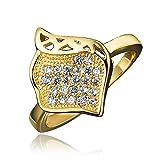 Regali per donne squisito anelli 18K placcato zirconia cubica AAA qualità attraente per ragazze, 18ct base metallo placcato oro, 52 (16.6), cod. PGPR505L