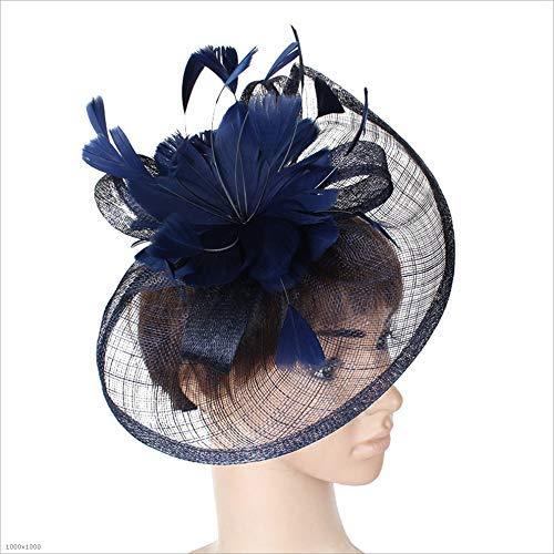 n Blumen Federn Haarband Hochzeit Kopfschmuck Damen Wettbewerb Royal Yashida Pillendose Cocktail Party Derby Cap (Farbe: Navy) ()