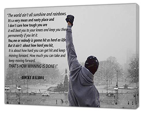 B&w 16x20 Foto (Rocky Balboa Foto mit seiner Zitate in, B & W Kunstdruck auf gerahmter Leinwand Art Wand, 20 x 16 inch -38mm depth)